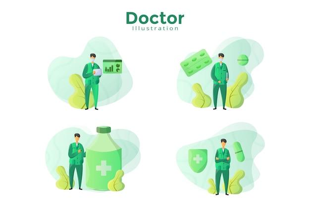 Projekt Ilustracji Z Koncepcją Lekarza Premium Wektorów