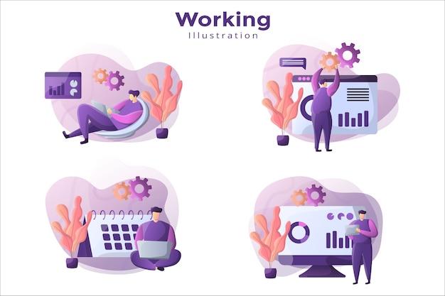 Projekt Ilustracji Z Koncepcją Pracy Premium Wektorów