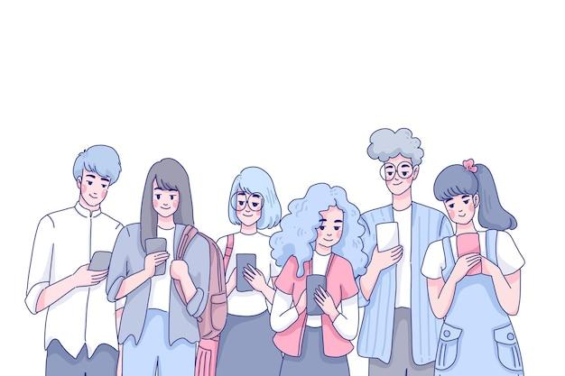 Projekt ilustracji zespołu młodzieży