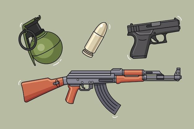 Projekt ilustracji zestaw broni wojskowej