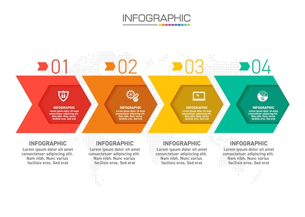 Projekt infografiki 4 kroki z ikonami marketingowymi mogą być użyte do układu przepływu pracy, diagramu, raportu rocznego, projektowania stron internetowych.