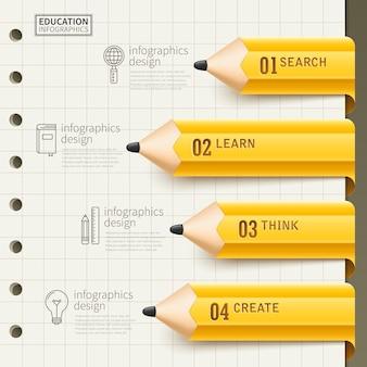 Projekt infografiki edukacji z żółtym ołówkiem i papierowymi elementami