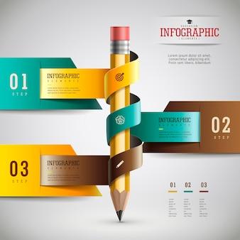 Projekt infografiki edukacyjnej, realistyczny ołówek z opcjami i wstążką
