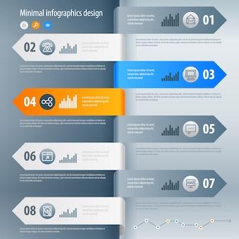 Projekt infografiki. może być używany do układu przepływu pracy, banera, diagramu, opcji liczbowych, opcji przyspieszenia, projektowania stron internetowych.