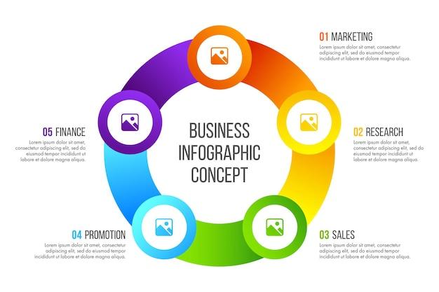 Projekt infografiki osi czasu koncepcja biznesowa z 5 opcjami, krokami lub procesami.