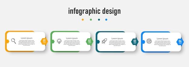 Projekt infografiki osi czasu kroków
