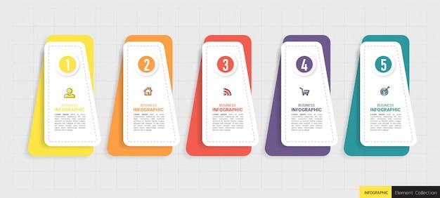 Projekt infografiki osi czasu pięć kroków