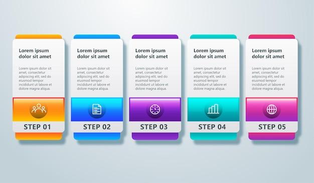 Projekt infografiki osi czasu z 5 krokami