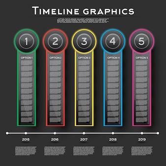Projekt infografiki osi czasu z pięcioma opcjami. ilustracja wektorowa. koncepcja biznesowa z krokami i procesami.