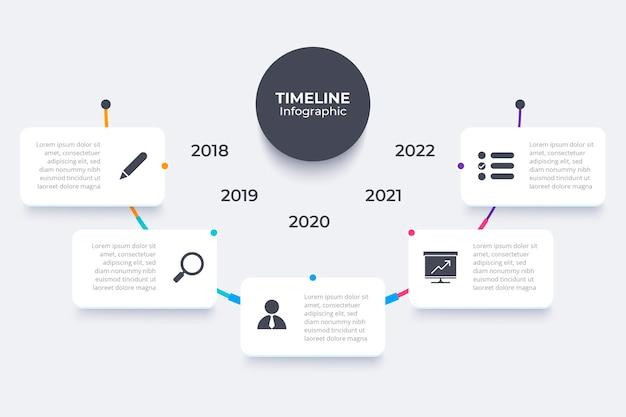 Projekt infografiki płaskiej osi czasu
