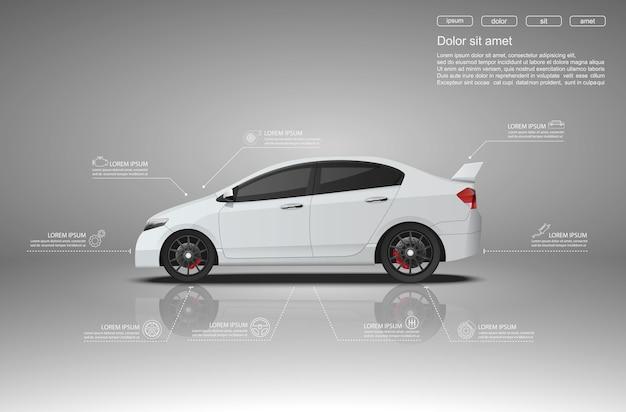 Projekt infografiki samochodu