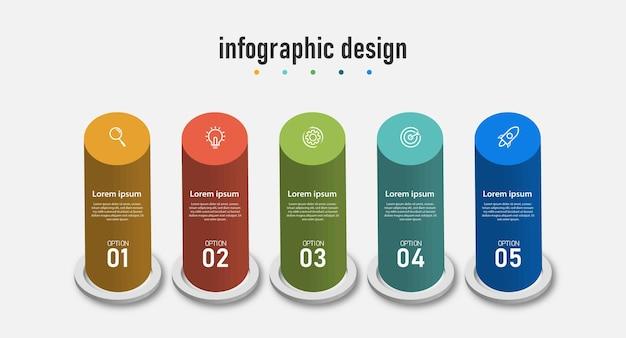 Projekt infografiki szablon biznesowy 3d i czteroetapowy przepływ pracy z numerem opcji