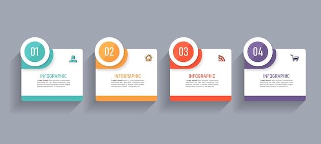 Projekt infografiki z 4 krokami.