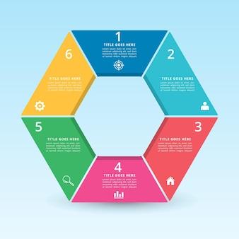 Projekt infografiki z efektem gradientu i cienia papieru 6 opcji