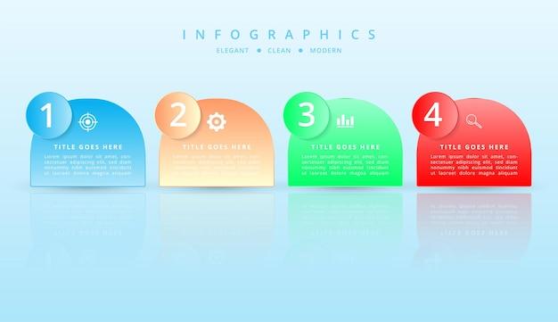 Projekt infografiki z efektem gradientu i cienia papieru z 5 opcjami
