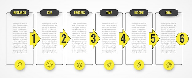 Projekt infografiki z ikonami i 6 opcjami lub krokami. infografiki dla koncepcji biznesowej.