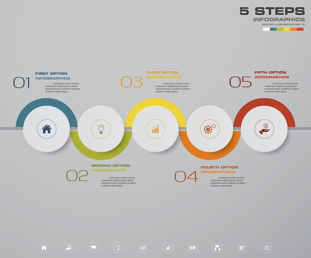 Projekt infografiki z ośmioma stopniami.