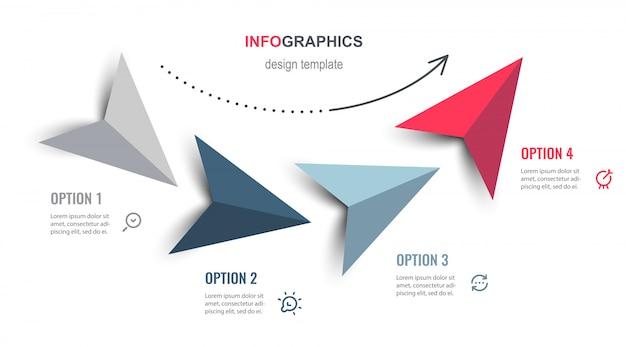 Projekt infografiki ze strzałkami i 4 opcjami lub krokami. infografiki dla koncepcji biznesowej.