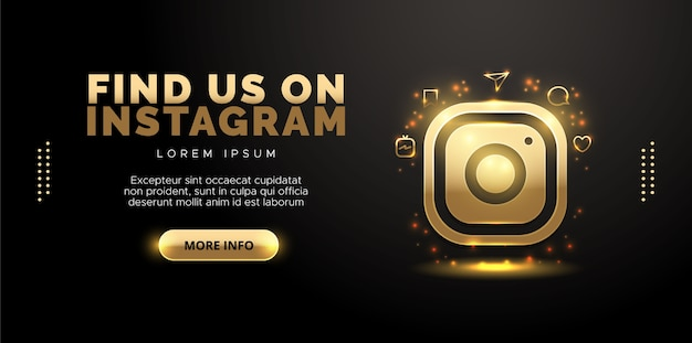 Projekt instagram w kolorze złotym na czarnym tle