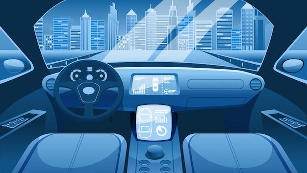 Projekt interfejsu pojazdu elektrycznego. deska rozdzielcza pojazdu elektrycznego inteligentnego samochodu. wirtualne sterowanie drogami miejskimi. samochód elektryczny. wnętrze salonu samochodowego.