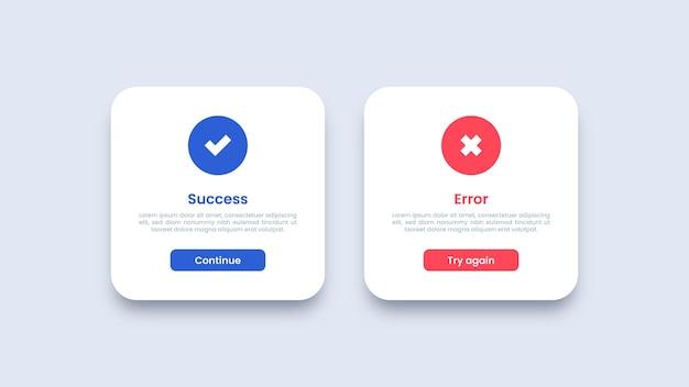 Projekt interfejsu użytkownika dotyczący sukcesu i komunikatu o błędzie