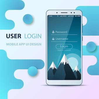 Projekt interfejsu użytkownika. ikona smartfona. login i hasło.