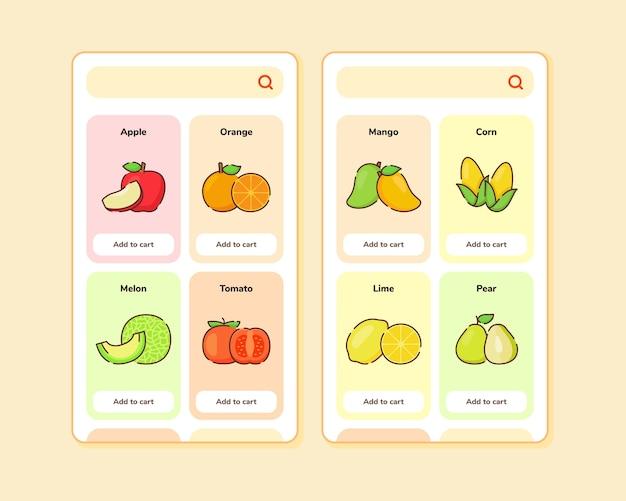 Projekt interfejsu użytkownika sklepu z owocami lub projekt ux dla projektu ekranu szablonu aplikacji mobilnych z niektórymi owocami