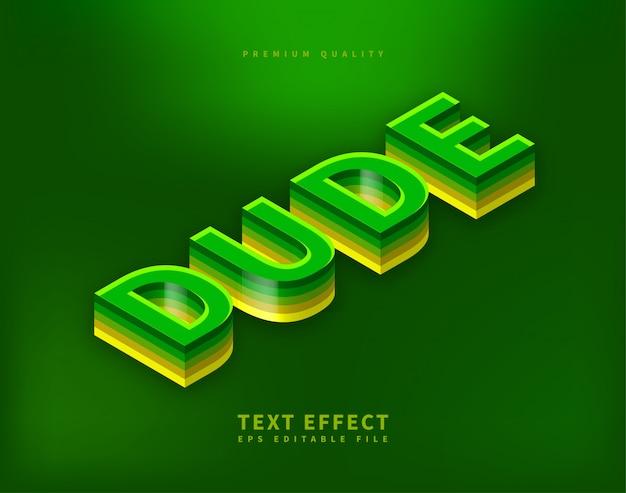 Projekt izometryczny efekt tekstowy litery 3d