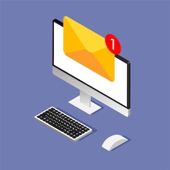 Projekt izometryczny komputera z kopertą i dokumentem na wyświetlaczu. otrzymanie lub wysłanie nowego listu. e-mail, email marketing, koncepcje reklamy internetowej w modnym stylu.