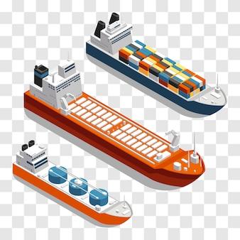 Projekt izometryczny nowoczesnych statków towarowych. zestaw statków transportowych na przezroczystym tle.