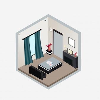 Projekt izometryczny wnętrza salonu.