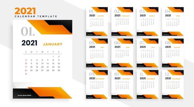 Projekt kalendarza 2021 w geometrycznym stylu w kolorze pomarańczowym
