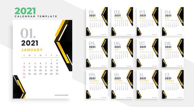 Projekt kalendarza 2021 w geometrycznym szablonie stylu