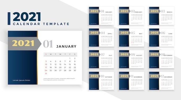 Projekt kalendarza nowy rok 2021 elegancki styl biznesowy