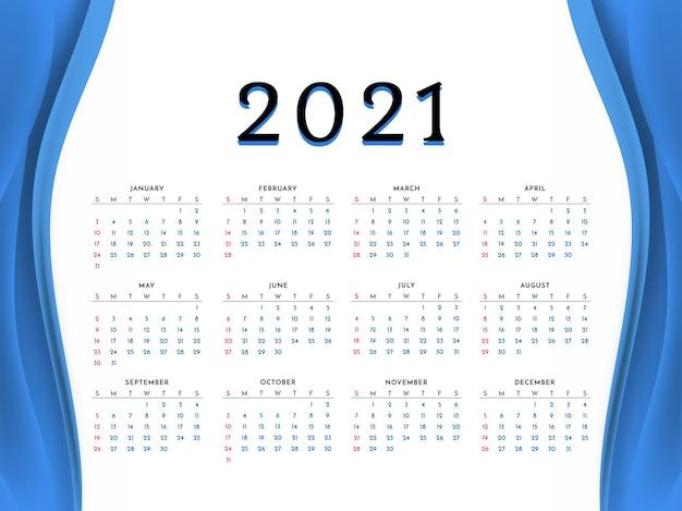 Projekt kalendarza nowy rok 2021 w stylu niebieskiej fali