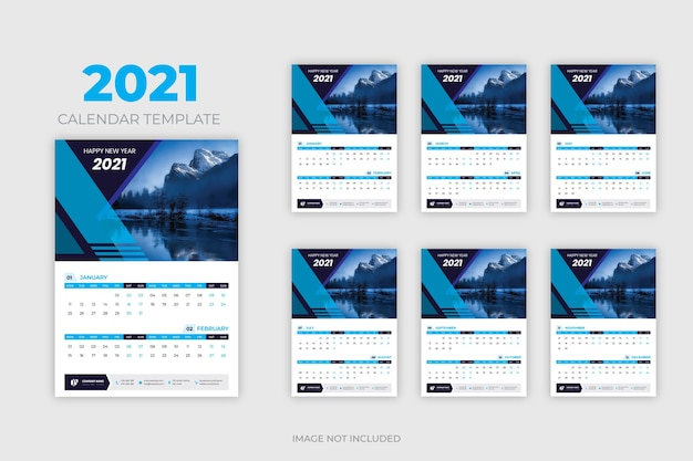 Projekt kalendarza ściennego nowy rok 2021 abstrakcyjny i kolorowy