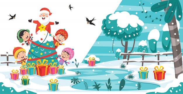 Projekt kartki świąteczne pozdrowienia z postaciami z kreskówek