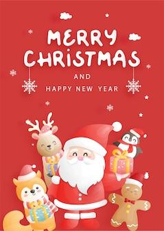 Projekt kartki świąteczne. uroczystość z mikołajem i przyjaciółmi, boże narodzenie scena w stylu cięcia papieru, ilustracja.