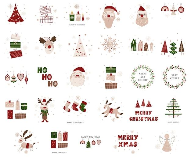 Projekt kartki świąteczne z prezentami. ilustracja wektorowa.