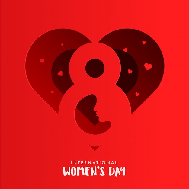 Projekt kartki w kształcie serca w kształcie czerwonego papieru z numerem 8 i kobiecą twarzą na międzynarodowy dzień kobiet.