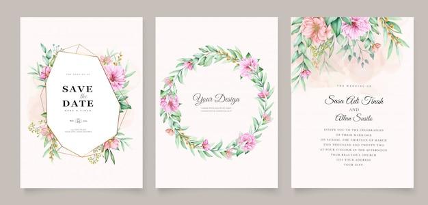 Projekt karty akwarela zaproszenie kwiatowy