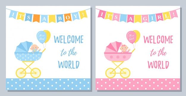 Projekt karty baby shower. ilustracja. tło urodziny