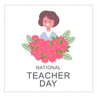 Projekt karty dnia nauczyciela narodowego. wektor kreskówka dziewczyna płaski charakter w okularach i bukiet kwiatów na białym tle