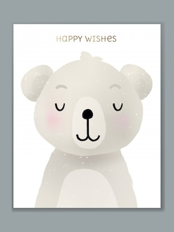 Projekt karty ilustracja kreskówka luksusowych zwierząt na obchody urodzin, powitanie, zaproszenie na wydarzenie lub powitanie. niedźwiedź polarny.