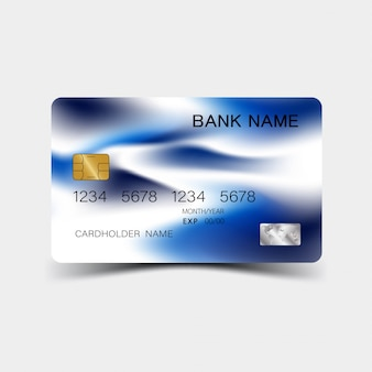 Projekt karty kredytowej. kolor niebieski. i inspiracja abstrakcyjna.