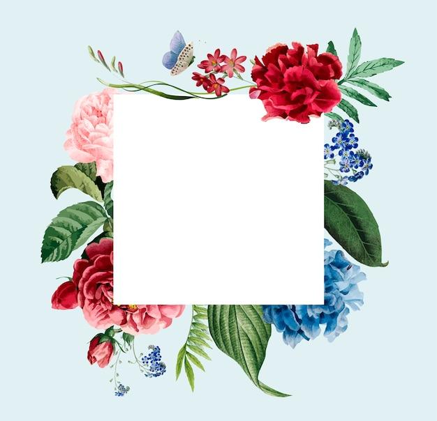 Projekt karty kwiatowy zaproszenie rama