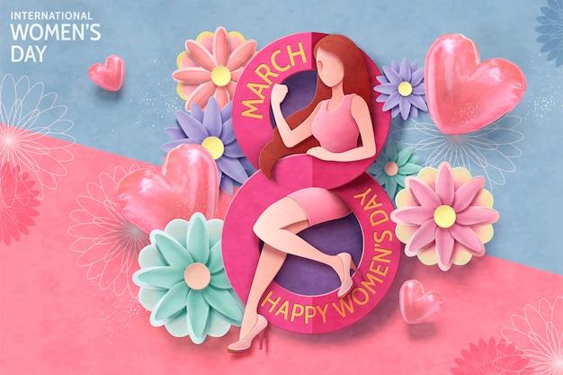 Projekt karty na dzień kobiet z 8 marca z seksowną silną kobietą i kwiatami w papierowym rzemiośle