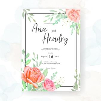 Projekt karty ślub akwarela