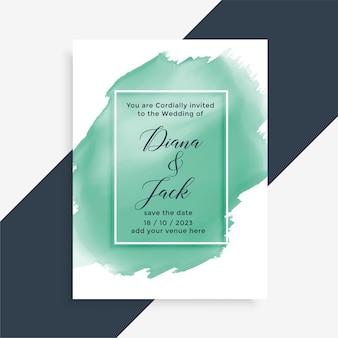 Projekt karty ślub w stylu obrysu pędzla akwarela