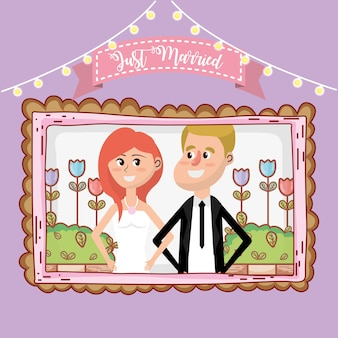 Projekt karty ślubu kreskówka
